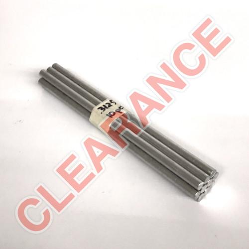 "Aluminum Round Rod, 5/16"" Diameter, 6061 General-Purpose, T6511 Mill Stock, 8"" Length, x10 Piece Lot"