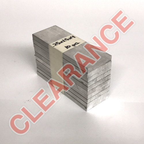 "Aluminum Flat Bar, 1/4"" x 1-1/2"", 6061 General-Purpose, T6511 Mill Stock, 4"" Length, x10 Piece Lot"