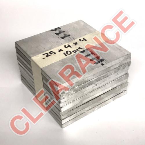 "Aluminum Flat Bar, 1/4"" x 4"", 6061 General-Purpose, T6511 Mill Stock, 4"" Length, x10 Piece Lot"