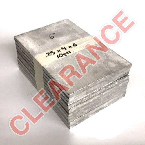 "Aluminum Flat Bar, 1/4"" x 4"", 6061 General-Purpose, T6511 Mill Stock, 6"" Length, x10 Piece Lot"