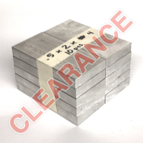"Aluminum Flat Bar, 1/2"" x 2"", 6061 General-Purpose, T6511 Mill Stock, 4"" Length, x10 Piece Lot"