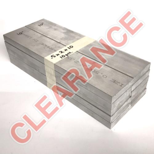 "Aluminum Flat Bar, 1/2"" x 2"", 6061 General-Purpose, T6511 Mill Stock, 10"" Length, x10 Piece Lot"