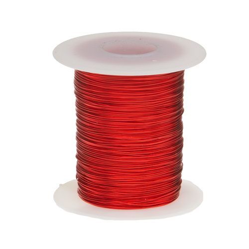 """Magnet Wire, Enameled Copper Wire, 24 AWG, 2 oz, 100' Length, 0.0221"""" Diameter, Red, 24SNSP.125"""