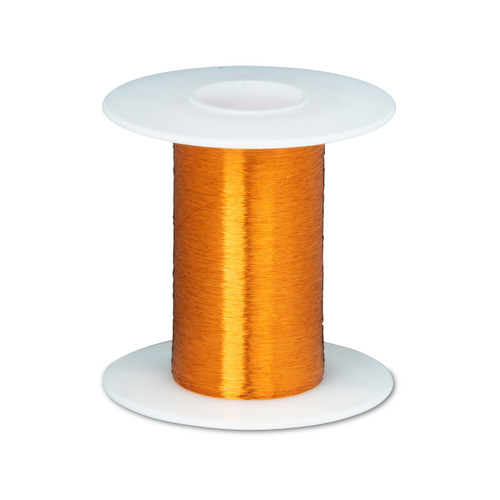"""Magnet Wire, Heavy Formvar Copper Wire, 43 AWG Heavy Build, 2 oz, 7896' Length, 0.0026"""" Diameter, Amber, 43HFVP.125"""