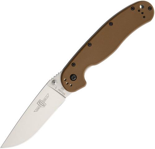 Ontario RAT Model 1 Folder Knife | D2 Tool Steel | Satin, Plain | Coyote Brown Handle | 8867CB