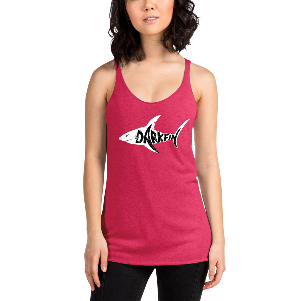 DARKFIN Women's Racerback Tank Top | Next Level 6733 WHITE SHARK