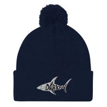 DARKFIN UNISEX Pom-Pom Beanie - White Shark