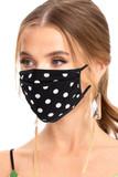 Premium Tri-Fold Black Polka Dot Fashion Face Mask - Made in USA