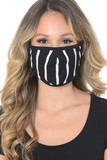 Women's Crepe Black White Striped Mask - Made in the USA