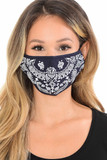 Giant Navy Paisley Bandana Fashion Face Mask with Built In Filter and Nose Bar