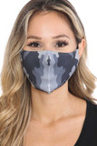 Black and White Grid Camouflage Graphic Print Face Mask