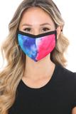 Split Tie Dye Graphic Print Fashion Face Mask