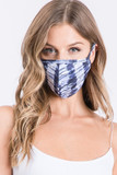 Navy Vertical Tie Dye Face Mask - Made in USA