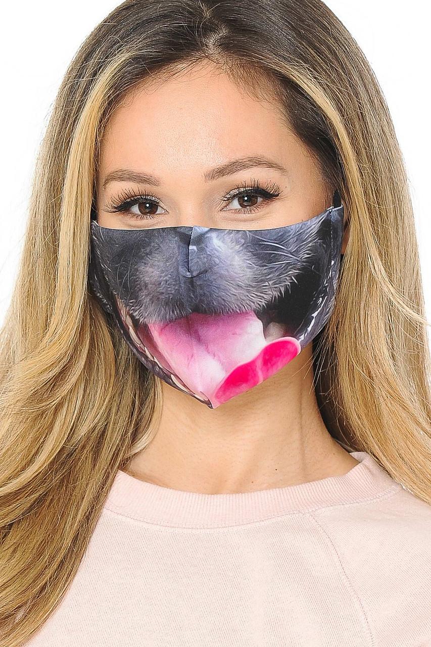 Dog Tongue Graphic Print Face Mask