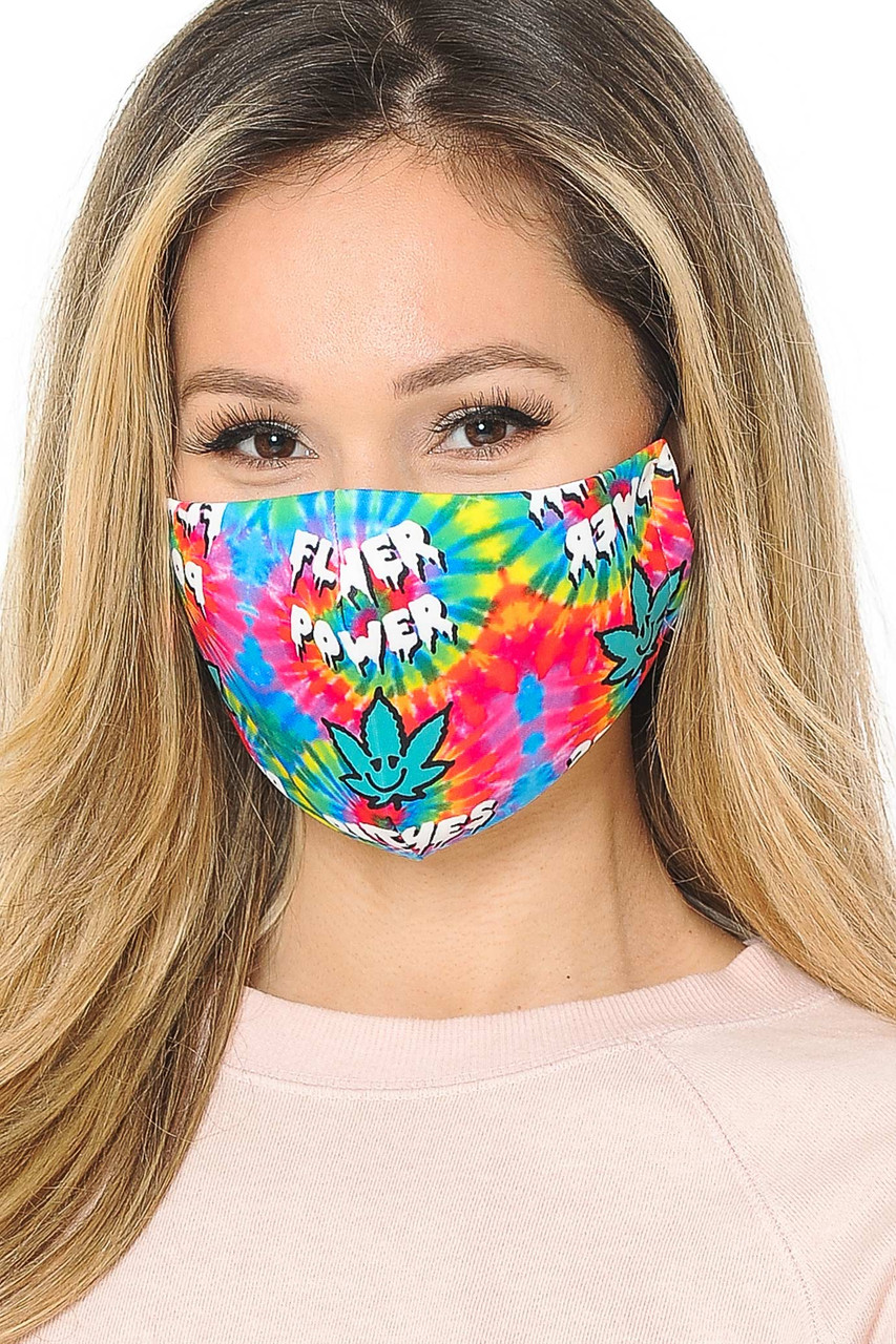Flower Power Tie Dye Graphic Print Face Mask