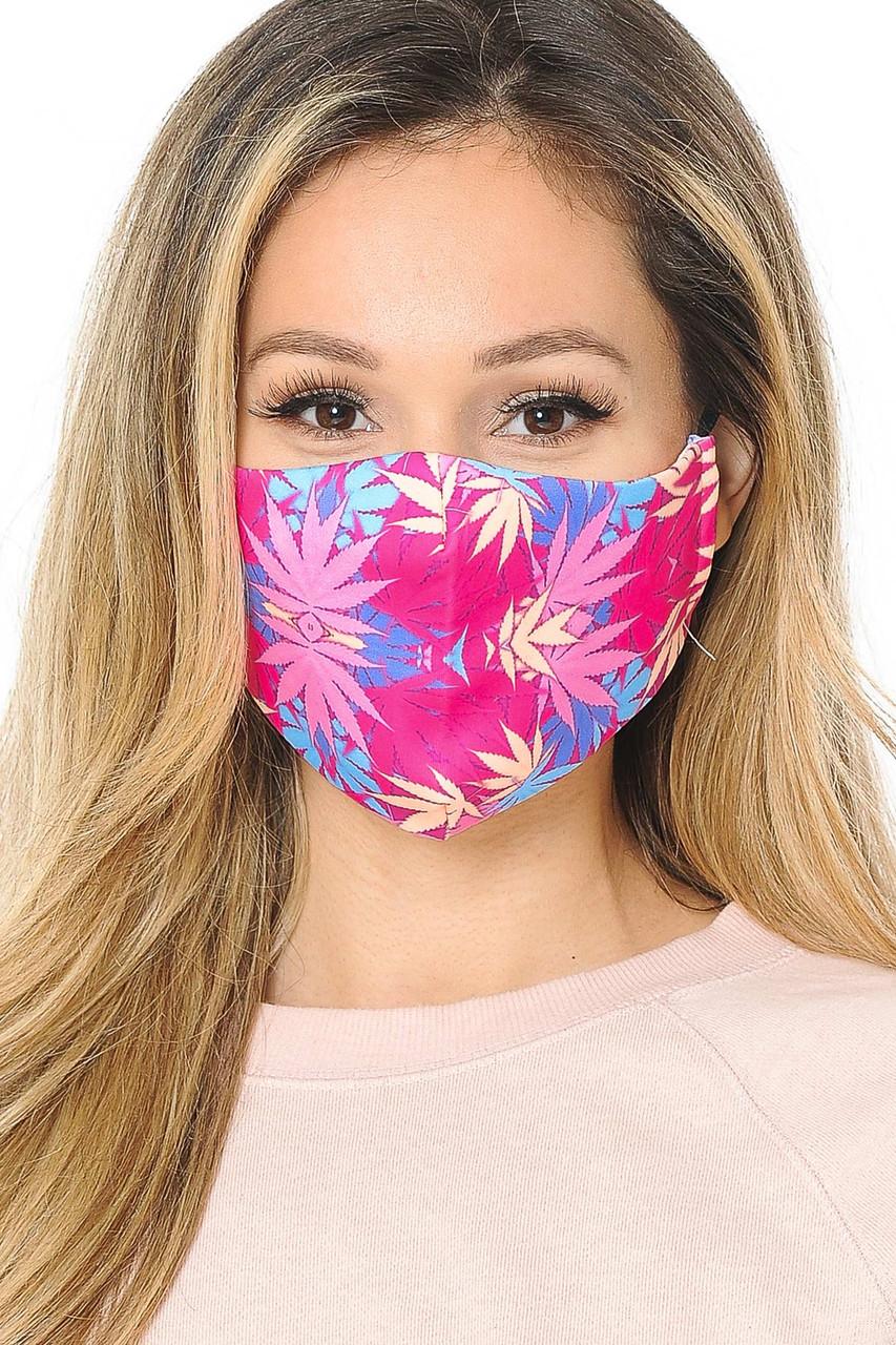Pink Marijuana Graphic Print Face Mask
