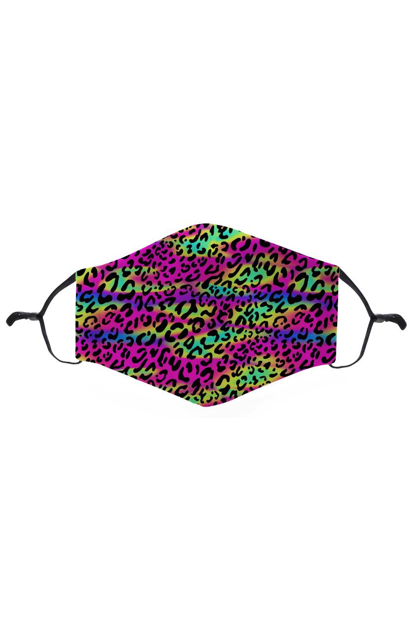 Rainbow Leopard Graphic Print Face Mask