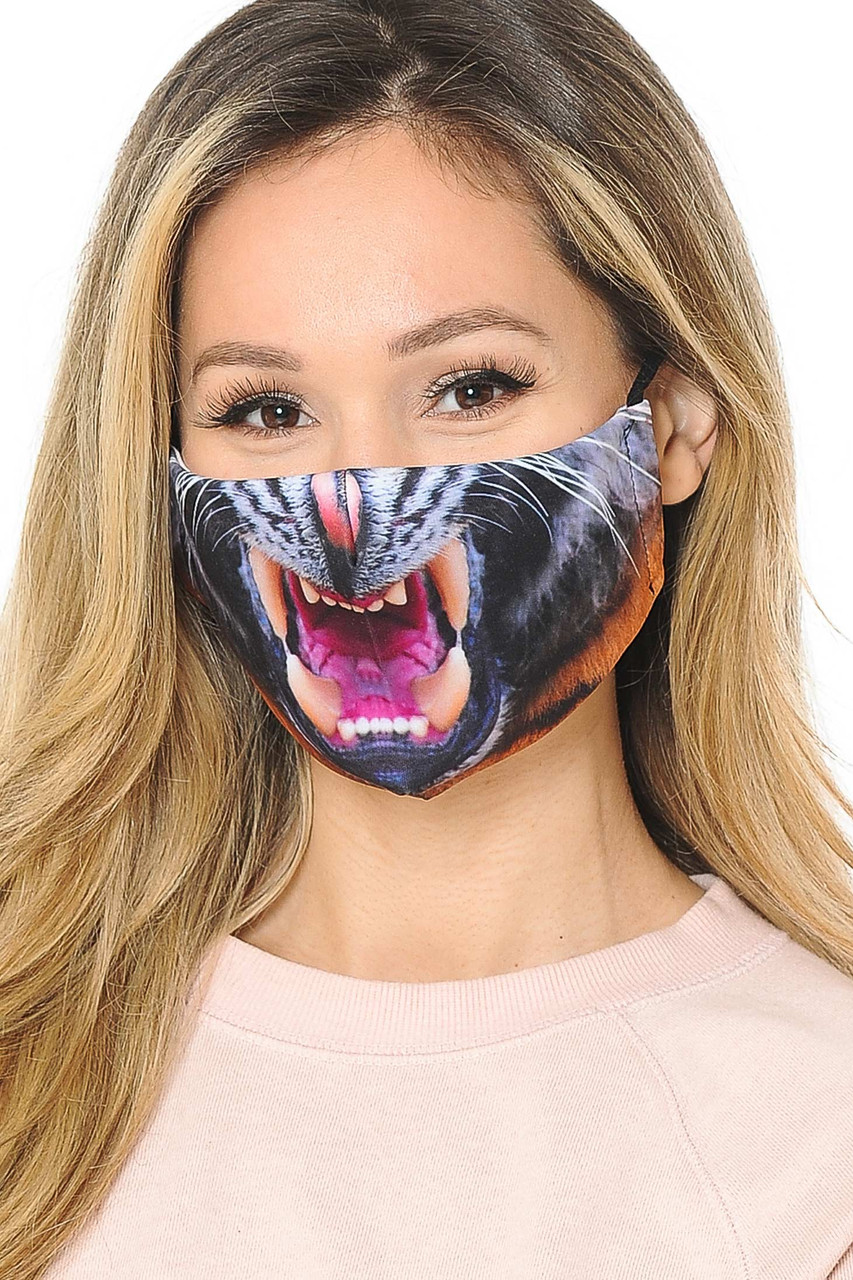 Feral Leopard Graphic Print Face Mask