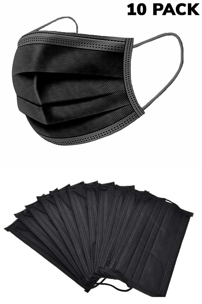 Black Disposable Surgical Face Mask - 10 Pack