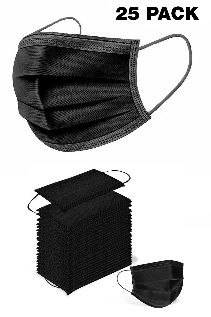 Black Disposable Surgical Face Mask - 25 Pack