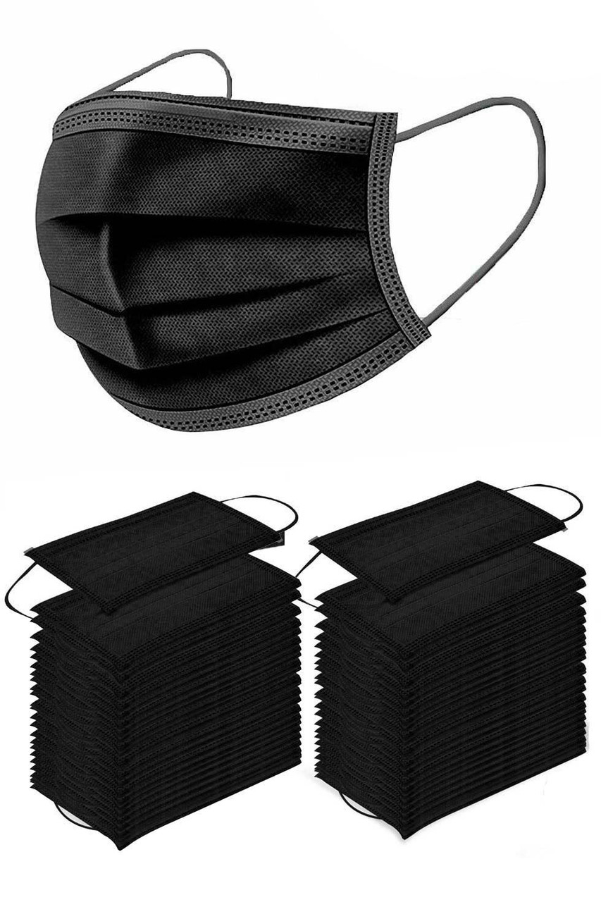 50 Pieces of Black Disposable Surgical Face Mask with Single Mask Showing Coverage