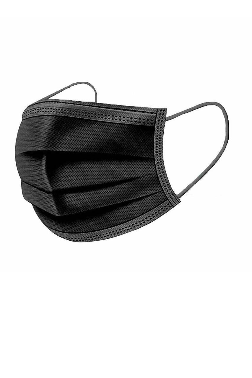 Single Black Disposable Surgical Face Mask Showing Coverage and Ear Strings