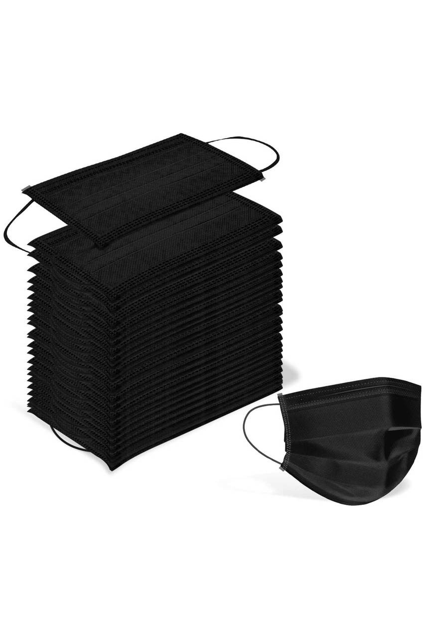 Stack of 50 Black Disposable Surgical Face Masks