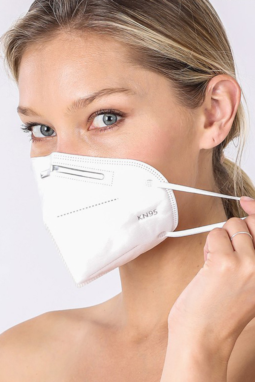 SINGLES - White KN95 Face Mask - Individually Wrapped