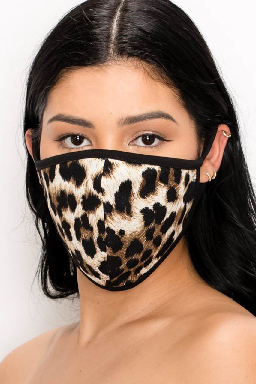 2 Pack - Adult and Kid's Leopard Face Mask - Made in USA