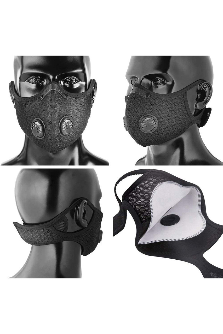 Navy Blue Dual Valve Mesh Sport Face Mask with PM2.5 Filter