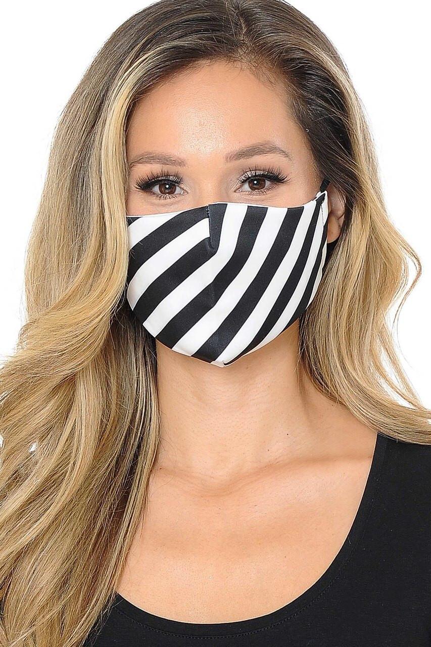 Diagonal Black and White Stripes Graphic Print Face Mask