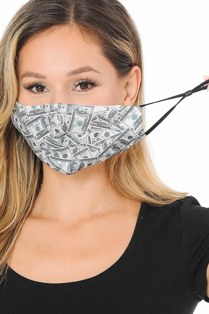 Raining Money Graphic Print Face Mask
