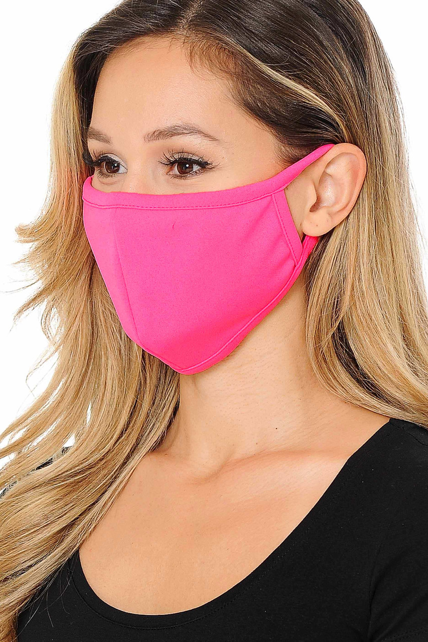 Summer Neon Pink Scuba Knit Face Mask - Made in the USA