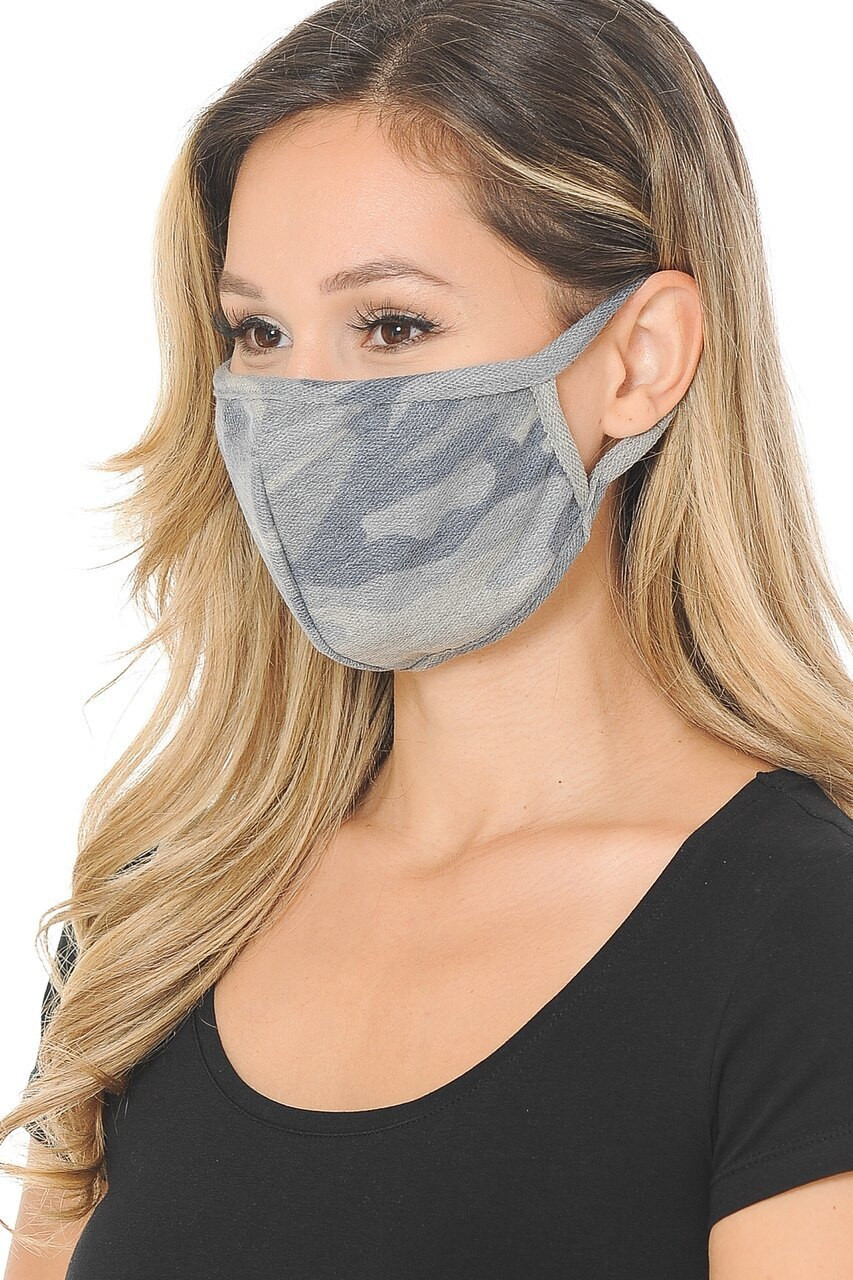 Heather Grey Camouflage Face Mask - Made in the USA