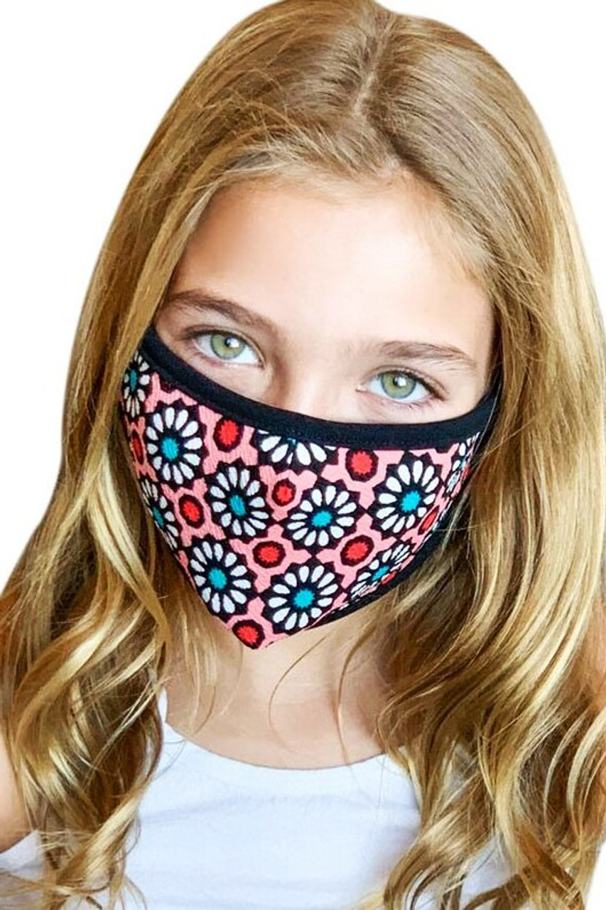 Groovy Floral Kids Face Mask - Made in USA