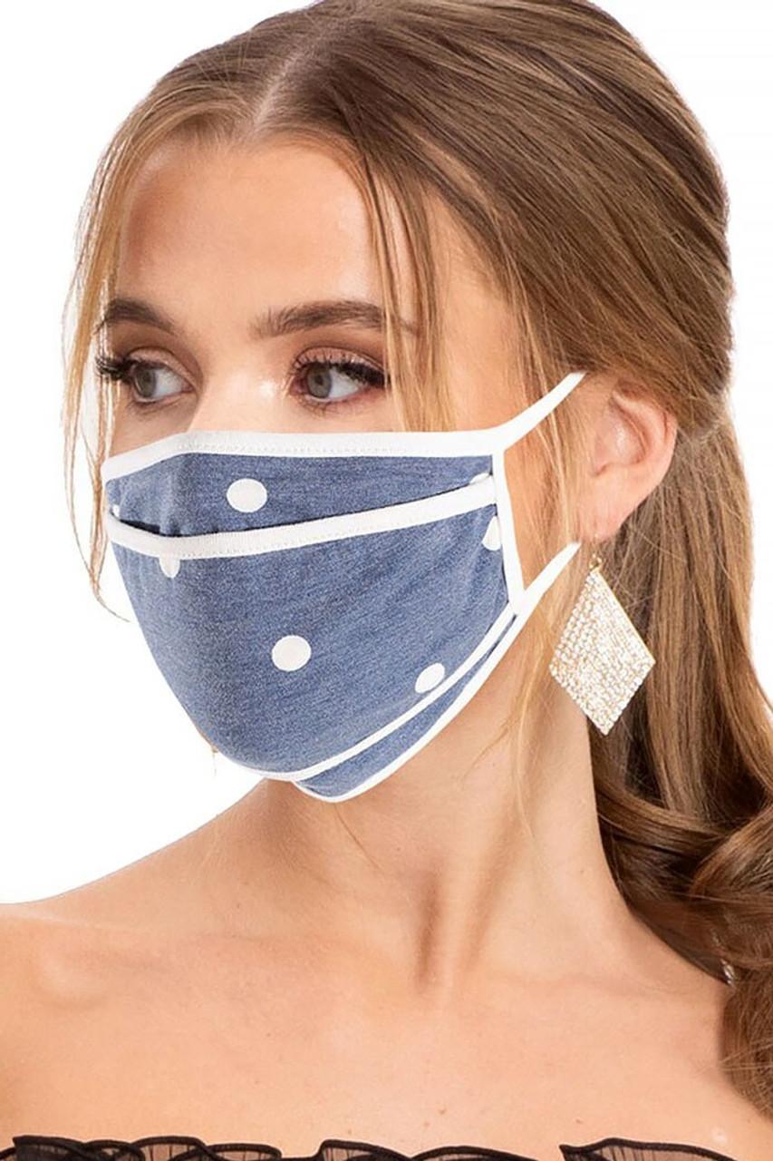 Premium Tri-Fold Polka Dot Blue Linen Face Mask - Made in USA