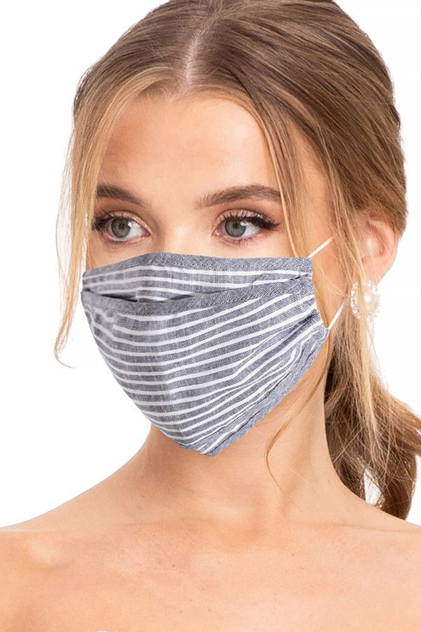 Premium Tri-Fold Charcoal Striped Fashion Face Mask - Made in USA