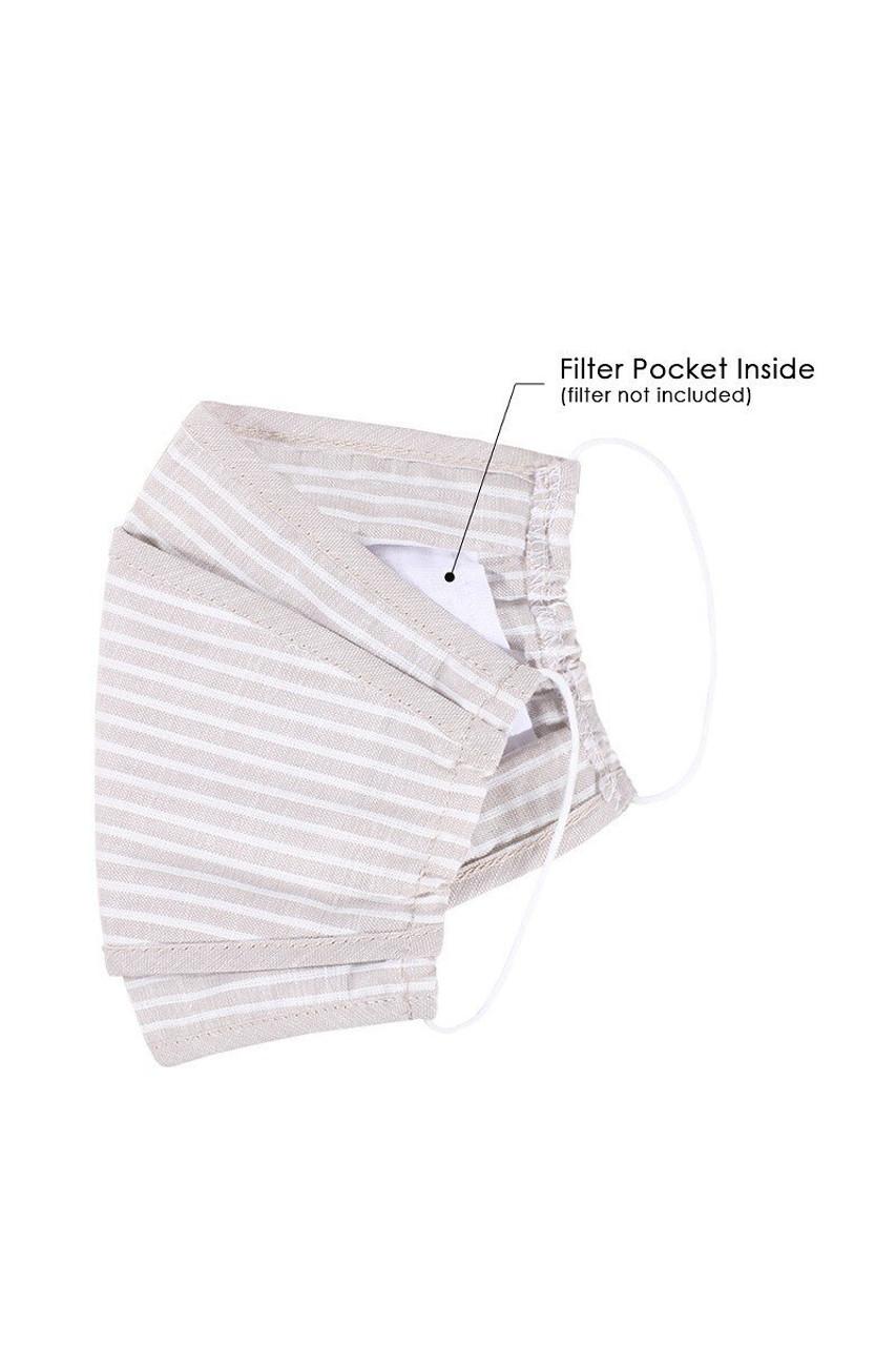 Premium Tri-Fold Beige Striped Fashion Face Mask - Made in USA