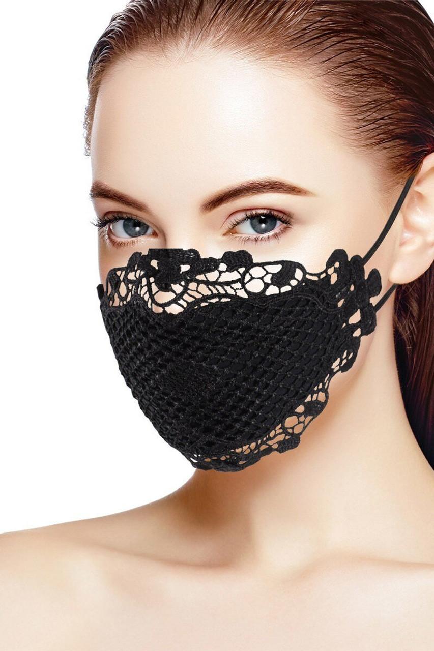 Chic Black Lace Fashion Face Mask