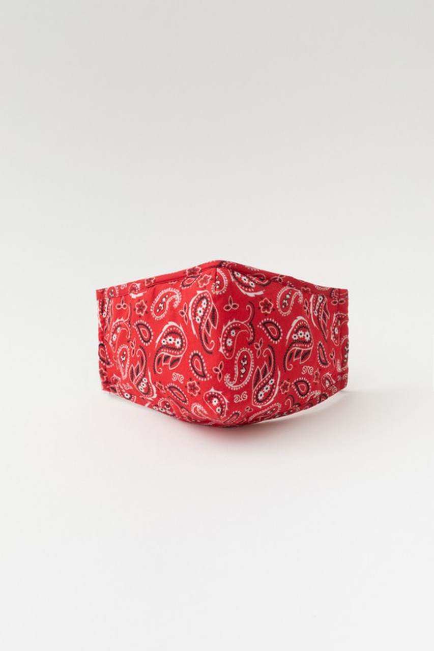 Red Bandana Fashion Face Mask with Built In Filter and Nose Bar