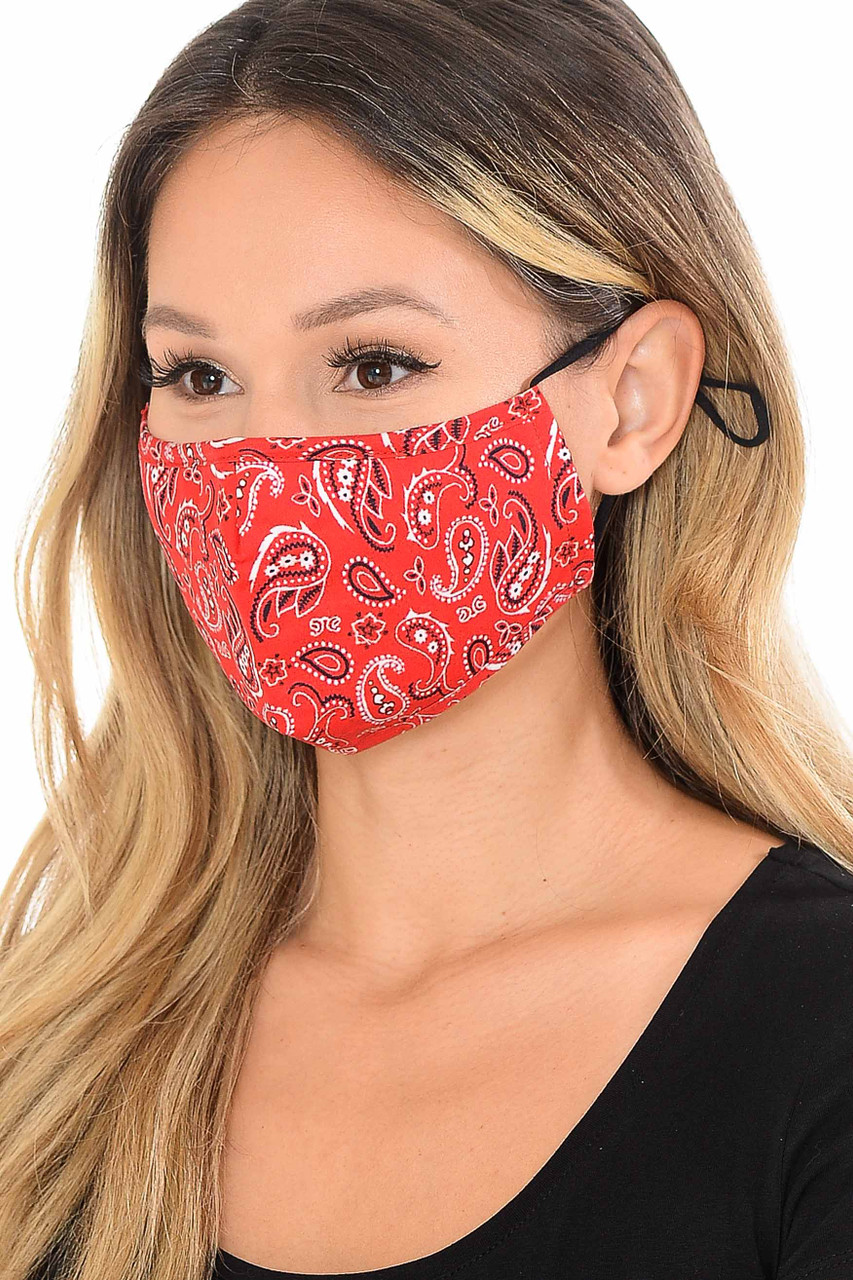 Side View of Red Bandana Fashion Face Mask with Built In Filter and Nose Bar