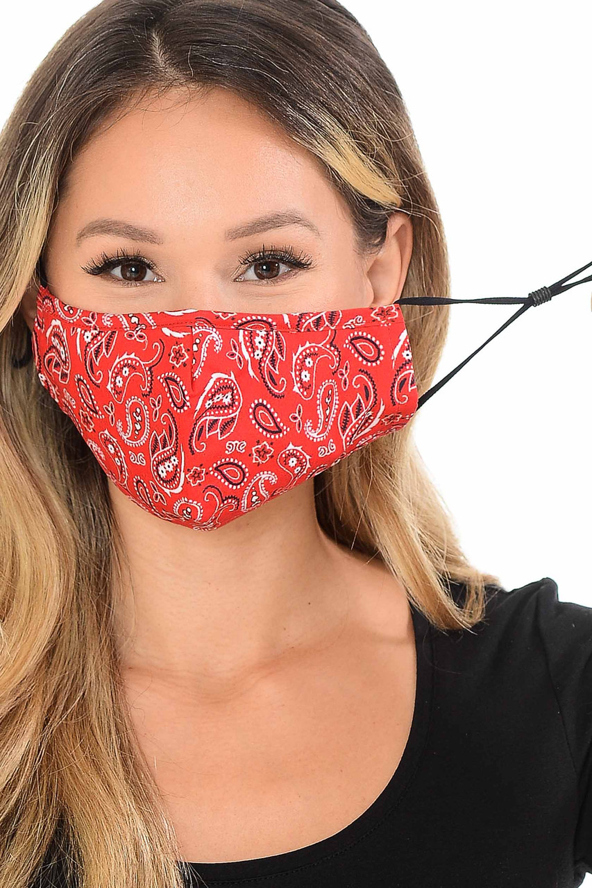 Showing Ear Strings of the Red Bandana Fashion Face Mask with Built In Filter and Nose Bar