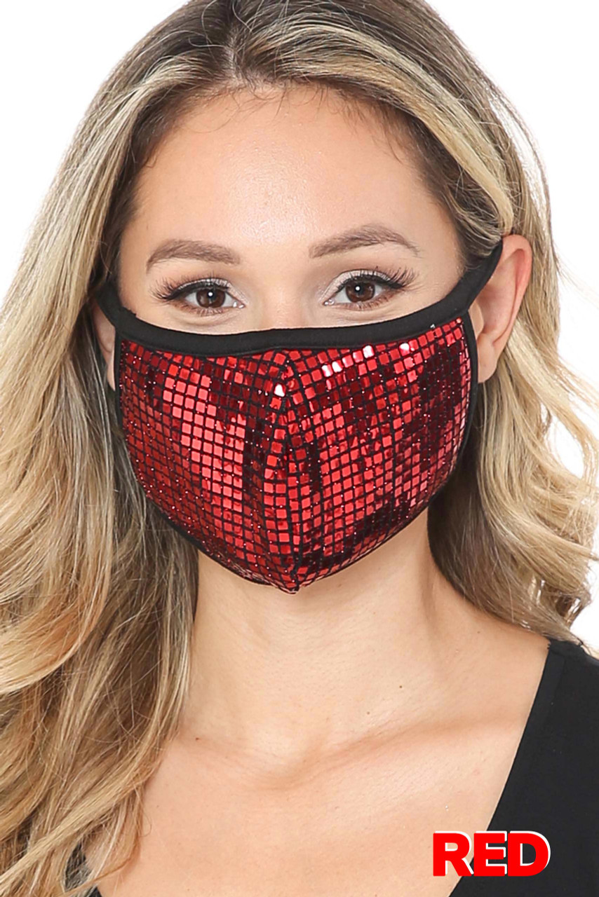 Red Square Bling Sequin Fashion Face Mask - Made in USA