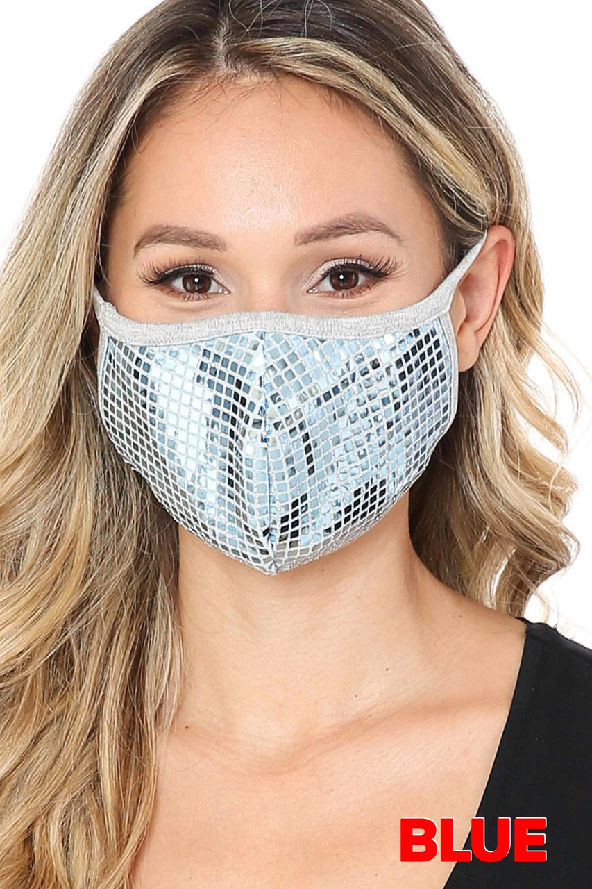 Blue Square Bling Sequin Fashion Face Mask - Made in USA