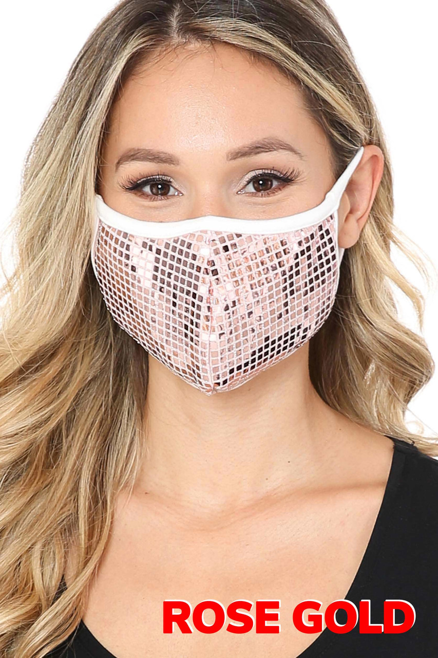Rose Gold Square Bling Sequin Fashion Face Mask - Made in USA