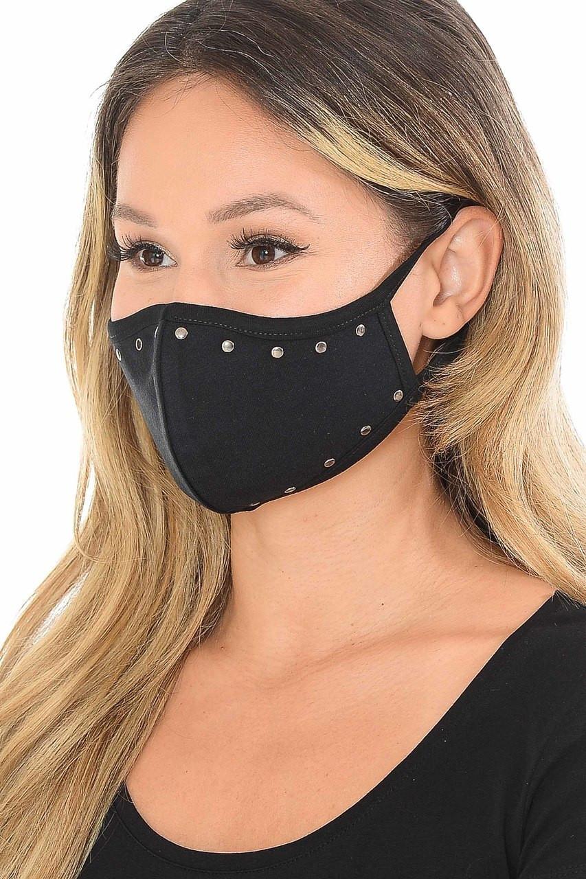 Cotton Studded Outline Face Mask