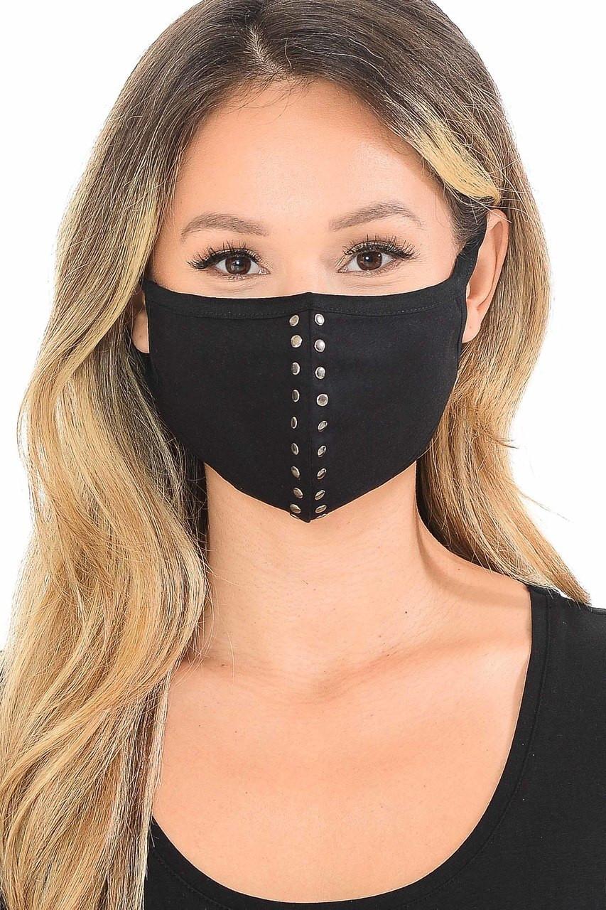 Cotton Studded Center Trim Face Mask