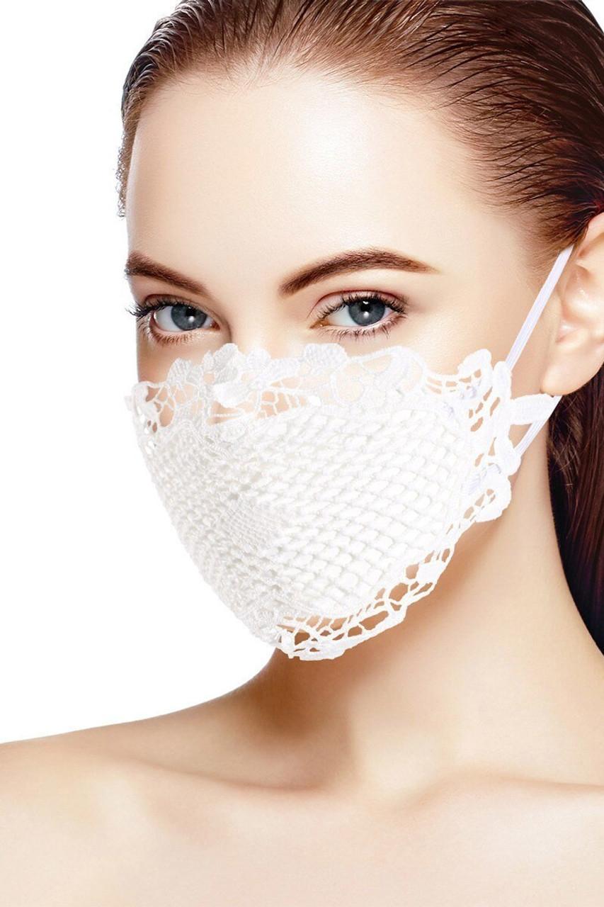Chic White Lace Fashion Face Mask