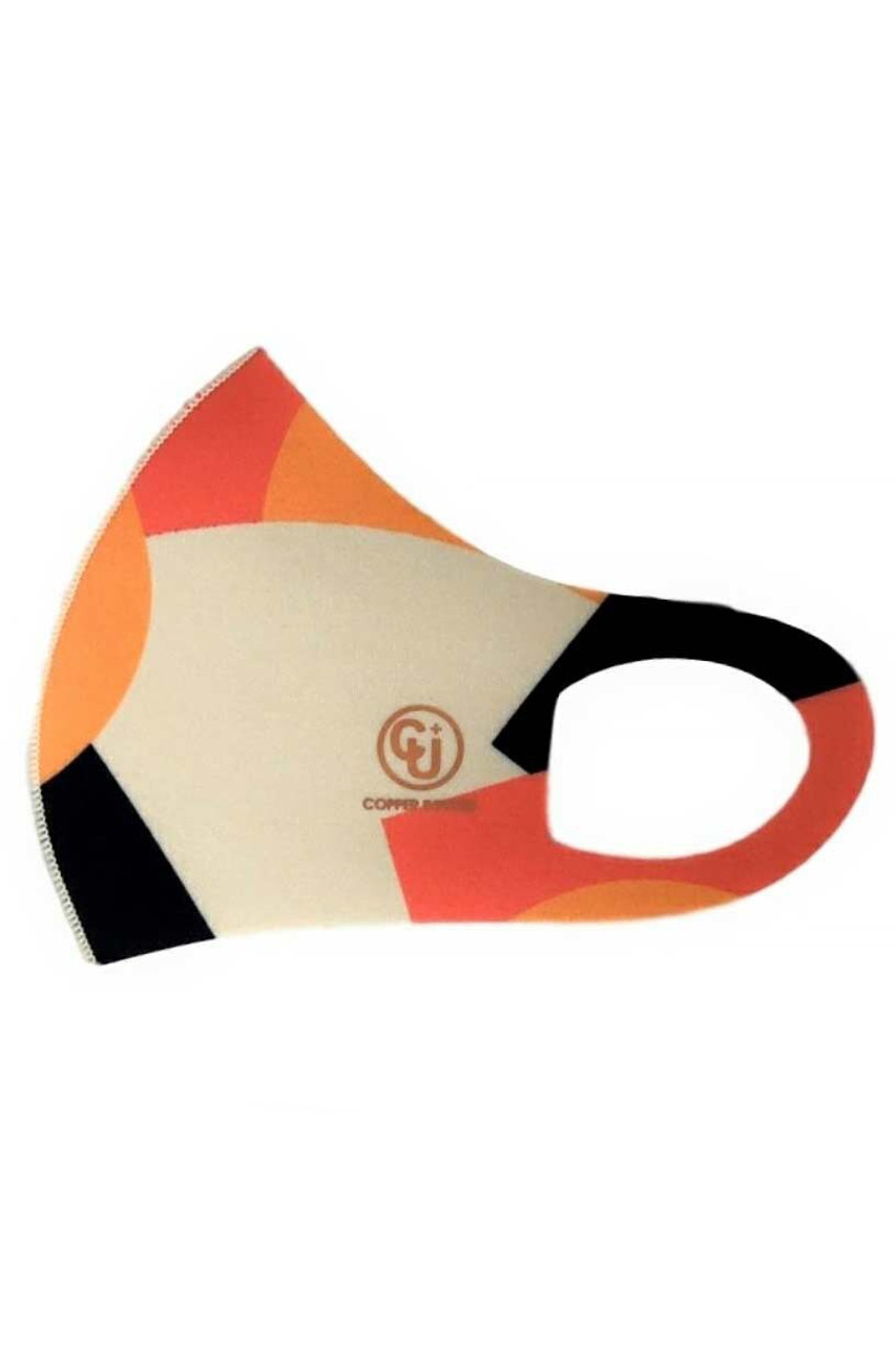 Orange Color Block Copper Infused Bold Orange Chunk Face Mask