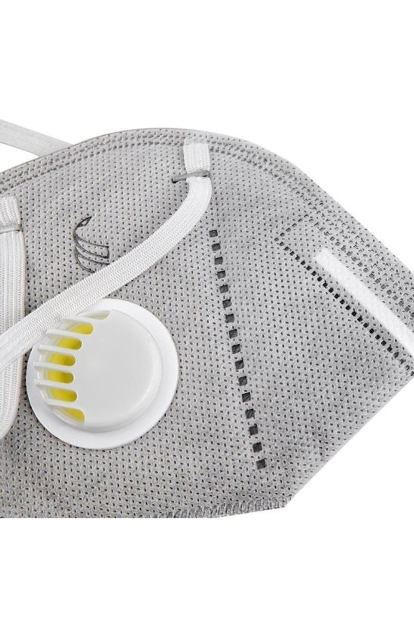 Close up Grey KN95 Face Mask with Air Valve - Individually Wrapped